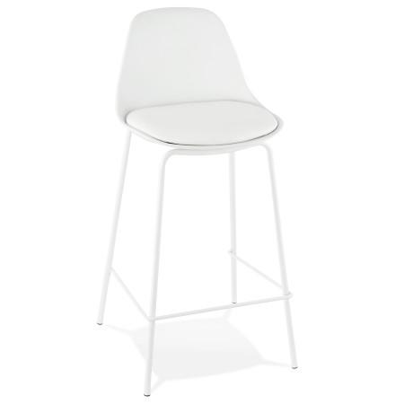 Tabouret mi-hauteur COOKIE MINI blanc style industriel - Alterego