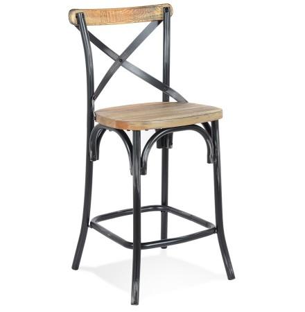 Tabouret snack mi-hauteur 'COTTAGE MINI' en bois finition Noyer effet vieilli noir