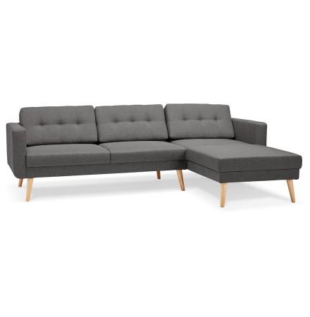 Canapé d'angle COLONEL gris foncé avec méridienne à droite - Alterego
