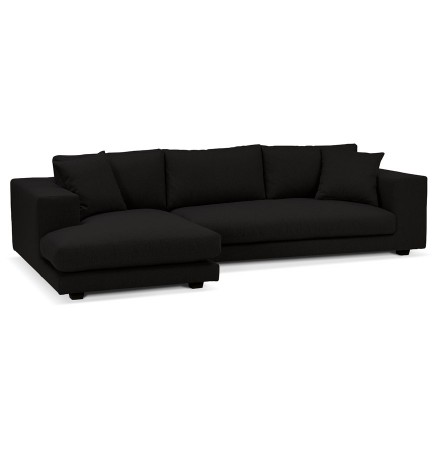 Canapé d'angle design 'DALTON L SHAPE' en tissu noir (angle à gauche)