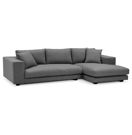 Canapé d'angle design 'DALTON L SHAPE' en tissu gris foncé (angle à droite)