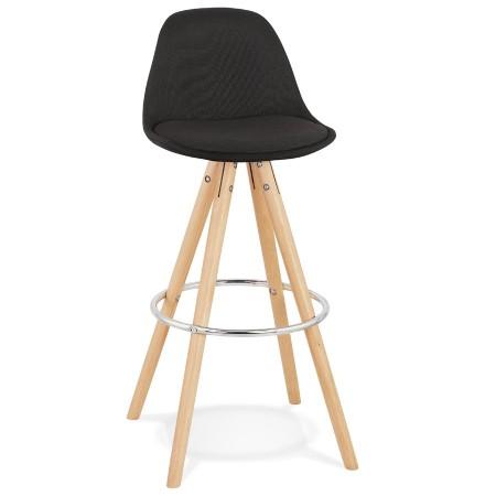 Tabouret de bar design 'DANI' en tissu noir et pieds en bois naturel