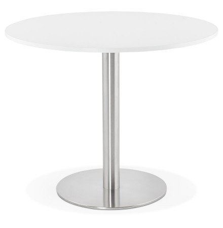 Petite table de bureau / à diner ronde 'DALLAS' blanche - Ø 90 cm