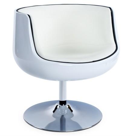 Fauteuil design 'DEKO' boule rotatif blanc