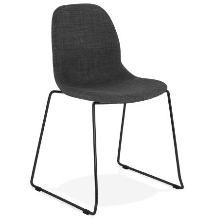 Chaise design 'DISTRIKT' en tissu gris foncé avec pieds en métal noir