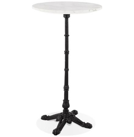 Table haute ronde 'DOMY ROUND' style rustique en pierre blanche effet marbre - 60x60 cm