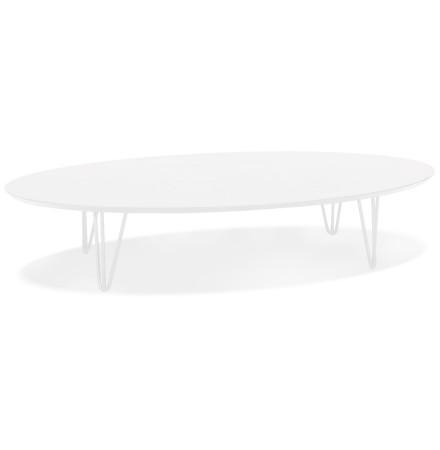 Grande table basse de salon 'ELYPSE' en bois et métal blanc