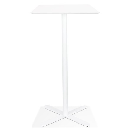 Table haute design 'EVEREST' blanche carrée - 70x70 cm