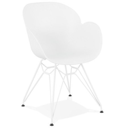Chaise moderne 'FIDJI' blanche avec pieds en métal blanc