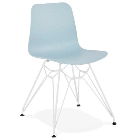 Chaise moderne 'GAUDY' bleue avec pied en métal blanc