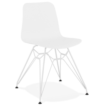 Chaise moderne 'GAUDY' blanche avec pied en métal blanc