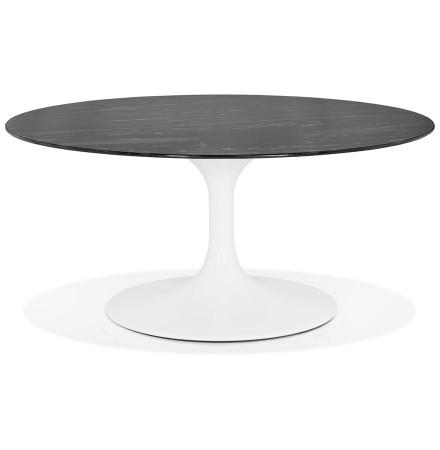 Table basse de salon ronde 'GOST MINI' en verre noir effet marbre et pied central blanc