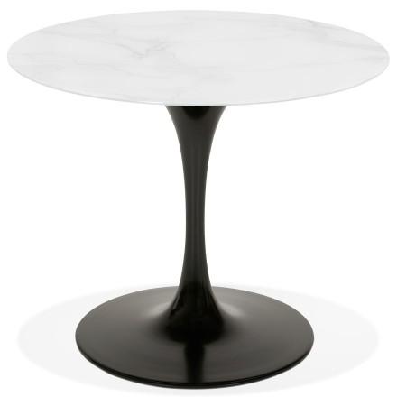 Table à manger 'GOST' ronde en verre blanc effet marbre et pied central noir - Ø 90 CM