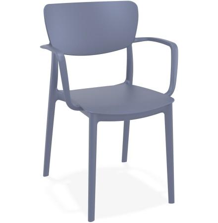 Chaise avec accoudoirs 'GRANPA' en matière plastique gris foncé