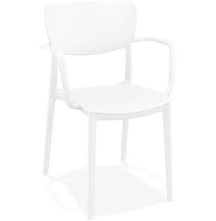 Chaise avec accoudoirs 'GRANPA' en matière plastique blanche