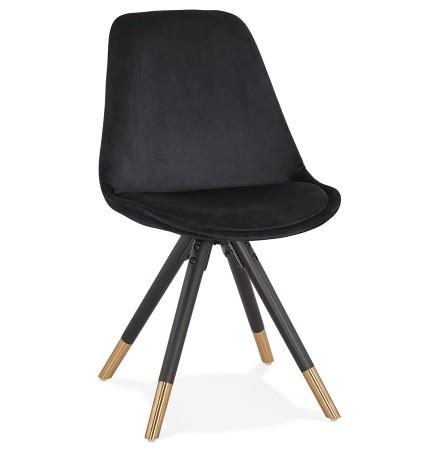 Chaise design 'HAMILTON' en velours noir et pieds en bois noir
