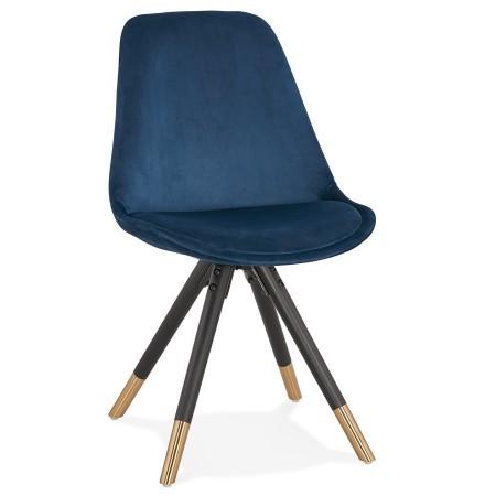 Chaise design 'HAMILTON' en velours bleu et pieds en bois noir
