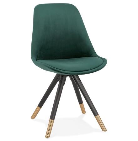 Chaise design 'HAMILTON' en velours vert et pieds en bois noir
