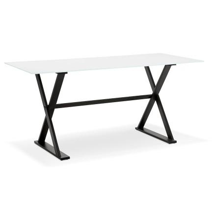 Table à diner / bureau design avec pieds en croix 'HAVANA' en verre blanc - 160x80 cm