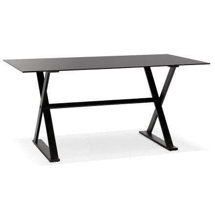 Table à diner / bureau design HAVANA en verre noir - 160x80 cm - Alterego