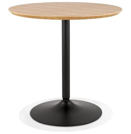Table ronde design 'HUSH' en bois finition naturelle et métal noir - Ø 80 cm