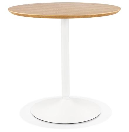 Table ronde design 'HUSH' en bois finition naturelle et métal blanc - Ø 80 cm