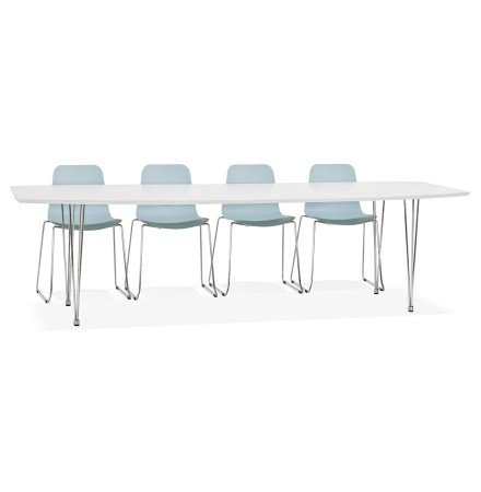 Table à dîner design extensible 'HUSKI' blanche avec pieds chromés - 170(270)x100 cm