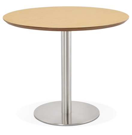 Petite table de bureau / à diner ronde 'INDIANA' en bois finition naturelle - Ø 90 cm