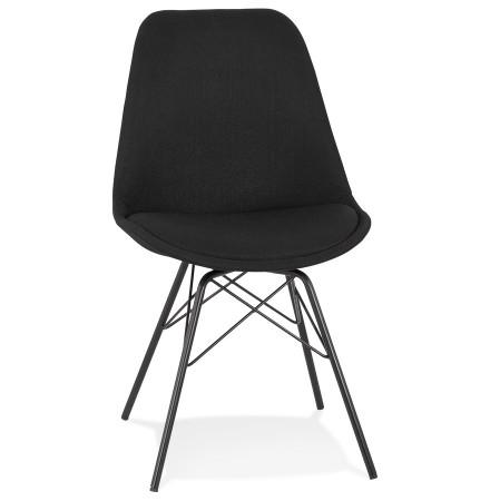 Chaise design 'INDIA' en tissu noir et pieds en métal noir