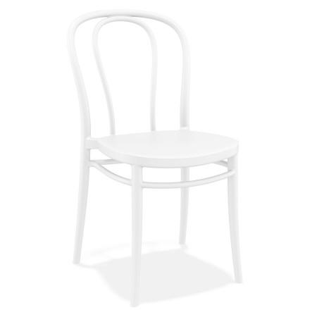 Chaise empilable 'JAMAR' intérieur / extérieur en matière plastique blanche