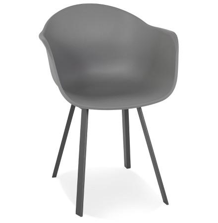 Chaise à accoudoirs design 'JAVEA' gris foncé intérieur / extérieur - commande par 2 pièces / prix pour 1 pièce