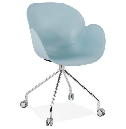Chaise de bureau design 'JEFF' bleue sur roulettes