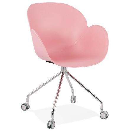 Chaise de bureau design 'JEFF' rose sur roulettes