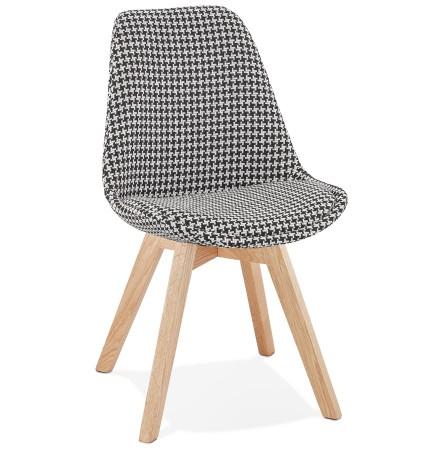 Chaise en tissu pied de poule 'JOE' avec structure en bois naturel