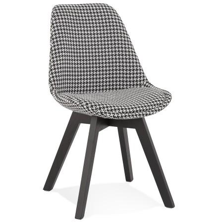 Chaise en tissu pied de poule 'JOE' avec structure en bois noir