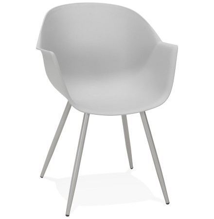 Chaise à accoudoirs 'KELLY' grise design