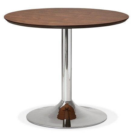 Petite table de bureau / à diner ronde 'KITCHEN' en bois finition Noyer - Ø 90 cm