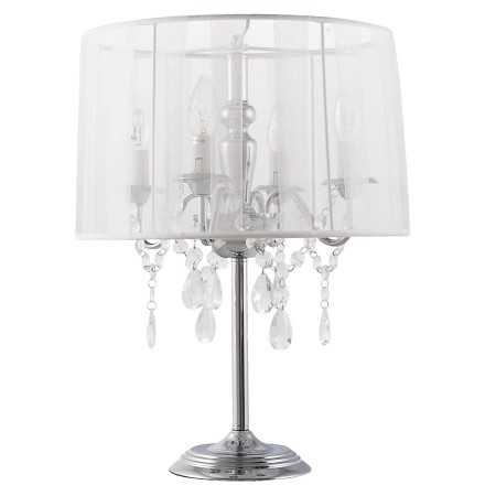 Lampe de chevet 'KLASSIK' blanche chandelier baroque à pampilles