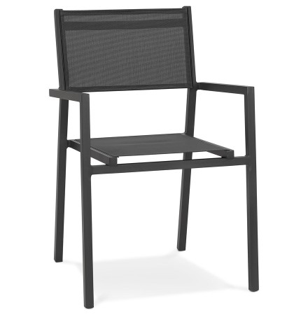 Chaise de jardin empilable 'KOS' en aluminium et matière synthétique gris foncé - commande par 2 pièces / prix pour 1 pièce
