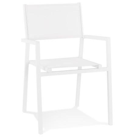 Chaise de jardin empilable 'KOS' en aluminium et matière synthétique blanche - commande par 2 pièces / prix pour 1 pièce