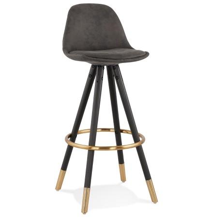 Tabouret de bar design 'KONG' en microfibre grise et pieds en bois noir