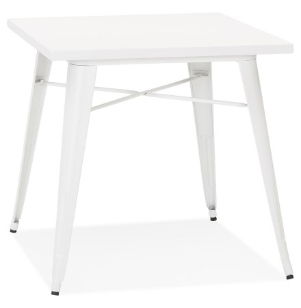 Petite table à dîner style industriel 'LALOU' blanche - 76x76 cm