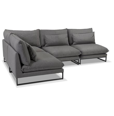 Canapé d'angle design 'LASKA ANGLE' en tissu gris foncé