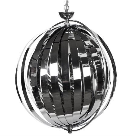 Suspension boule design 'LISA' en lamelles flexibles chromées