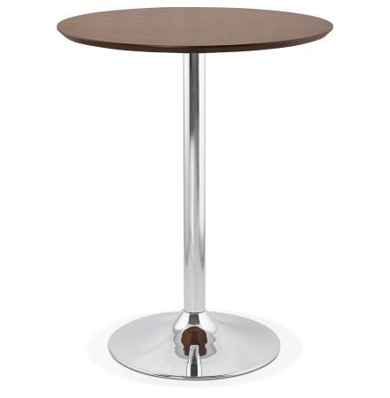 Mange-debout / table haute 'LIMA' en bois finition Noyer - Ø 90 cm