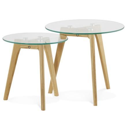 Tables gigognes ronde 'LOVYOU' en verre