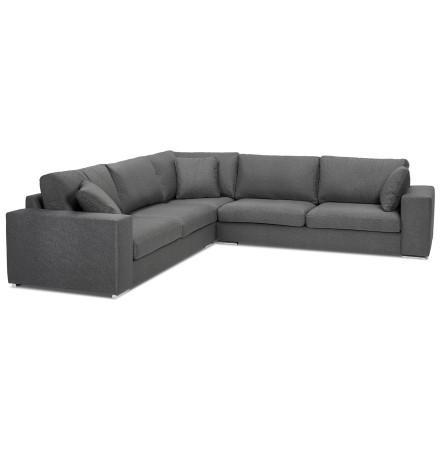 Grand canapé d'angle design 'LUCA CORNER' en tissu gris foncé