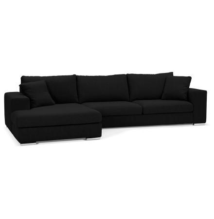 Canapé d'angle moderne 'LUCA L SHAPE' en tissu noir (angle à gauche)