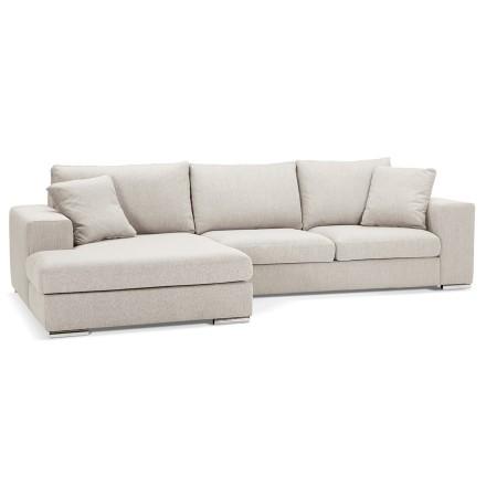 Canapé d'angle 'LUCA L SHAPE MEDIUM' en tissu beige (angle à gauche)