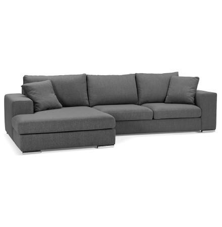 Canapé d'angle 'LUCA L SHAPE MEDIUM' en tissu gris foncé (angle à gauche)